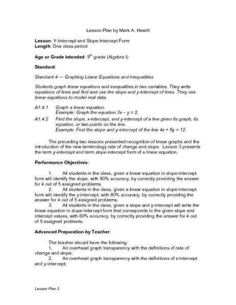 slope intercept form lesson plan  Y-Intercept and Slope Intercept Form Lesson Plan for 6th ...