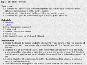 The Metric System Lesson Plan