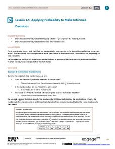 Applying Probability to Make Informed Decisions Lesson Plan