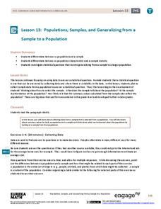 Populations, Samples, and Generalizing from a Sample to a Population Lesson Plan