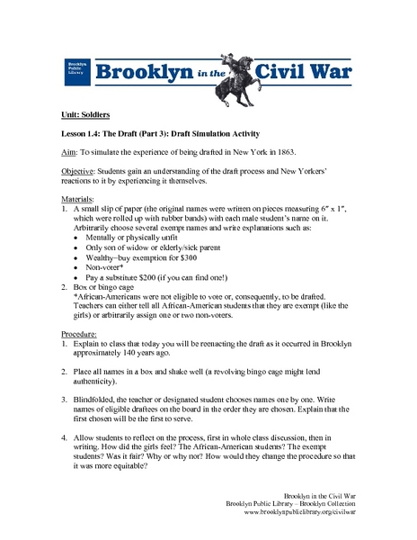 Draft Simulation Activity Lesson Plan