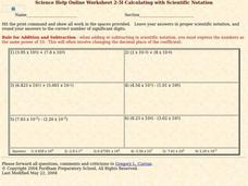 Calculating with Scientific Notation Worksheet