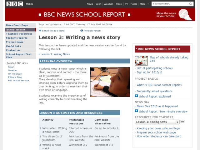 article writing lesson plan