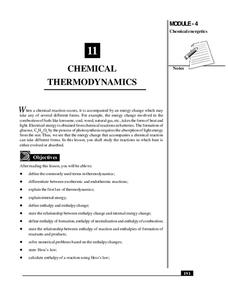 Chemical Thermodynamics Handouts & Reference
