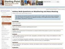 Gallery Walk Questions on Weathering and Mass Wasting Lesson Plan