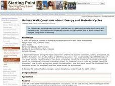 Gallery Walk Questions about Energy and Material Cycles Lesson Plan