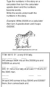 Calculator Story Worksheet