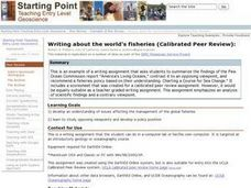 Writing about the world's fisheries (Calibrated Peer Review) Lesson Plan
