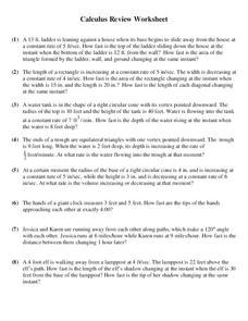 Calculus Review Worksheet Worksheet