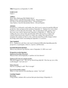 Perspectives on September 11,2001 Lesson Plan