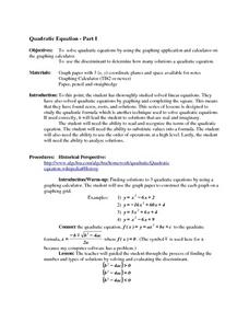 Quadratic Equation - Part I Lesson Plan