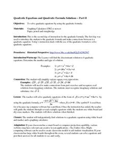 Quadratic Equations and Quadratic Formula Solutions Part II Lesson Plan