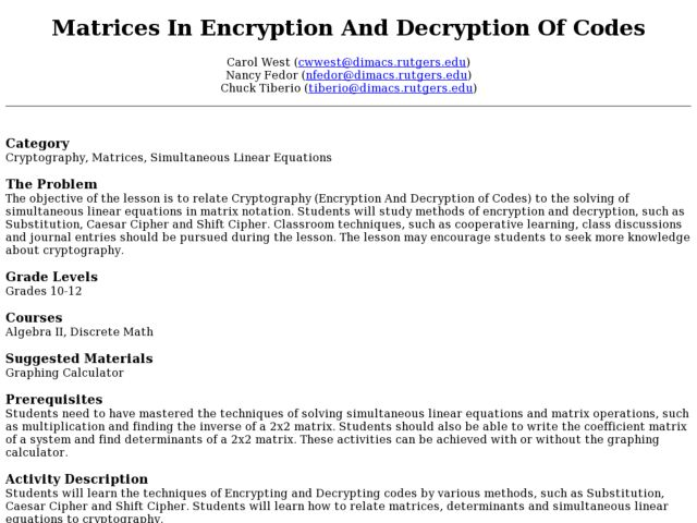 Matrices In Encryption And Decryption Of Codes Lesson Plan for 10th