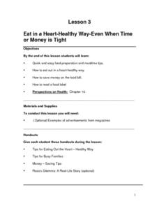 Eat in a Heart-Healthy Way Even When Time or Money is Tight Lesson Plan