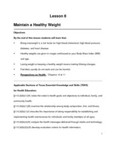 Maintain a Healthy Weight Lesson Plan