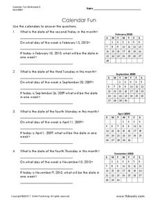 Calendar Fun Worksheet