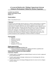 Animal Defense Mechanisms Lesson Plans Worksheets