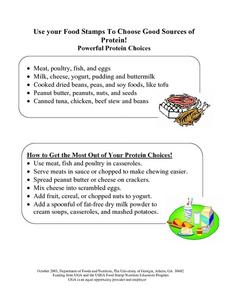 Choose Your Food Stamps TO Choose Good Sources Of Protein Lesson Plan