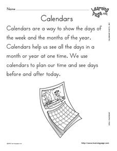 Calendar Skills Worksheet