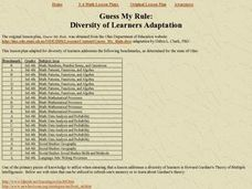 Guess My Rule: Diversity of Learners Adaptation Lesson Plan