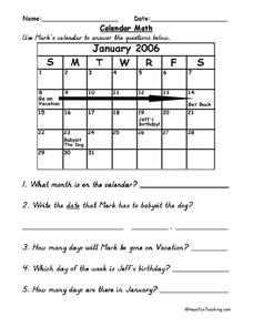Calendar Math Lesson Plan