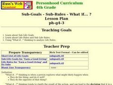 Sub-Goals - Sub-Rules - What if... ? Lesson Plan