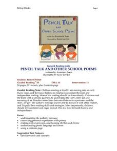 Pencil Talk And Other School Poems Lesson Plan