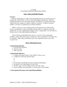 Safety And Health Programs Lesson Plan