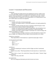 Assessment and Discussion Lesson Plan