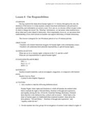 Our Responsibilities Lesson Plan