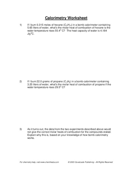 Specific Heat Problems Worksheet - Rringband