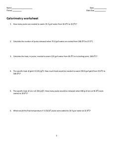 Calorimetry Worksheet Worksheet for 11th - 12th Grade | Lesson Planet