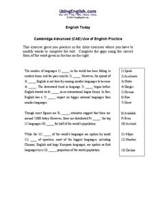 Cambridge Advanced (CAE) Use of English Practice Worksheet