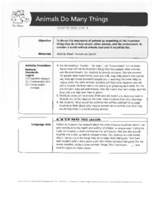 Animals Do Many Things Lesson Plan