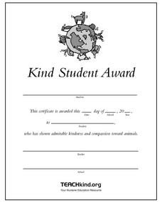 Kind Student Award Worksheet