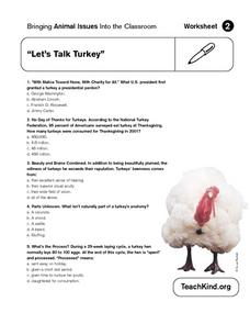 Animal Issues: Let's Talk Turkey Worksheet