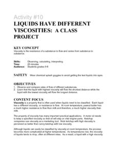 Liquids Have Differnt Viscosities Lesson Plan