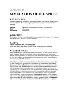Activity #8 Simulation of Oil Spills Lesson Plan