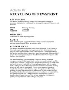 Activity #7 Recycling of Newsprint Lesson Plan