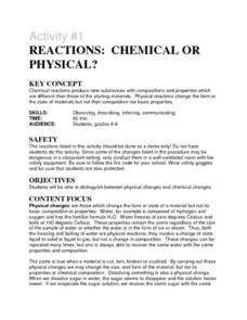 Activity #1 Reactions: Chemical or Physical? Lesson Plan