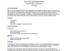 The Artist as Entrepreneur: Is this a Hobby or a Business? Lesson Plan
