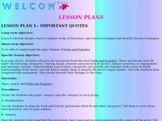 Important Quotes Lesson Plan