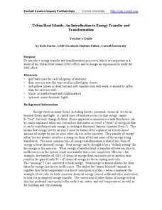 Urban heat Islands: An Introduction to Energy Transfer and Transformation Lesson Plan