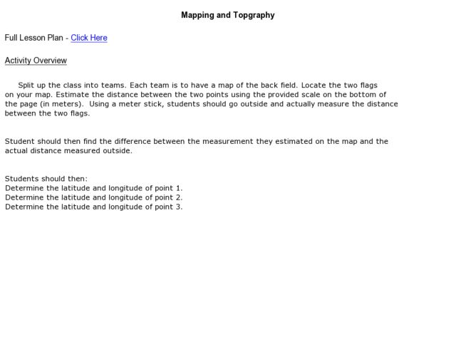 Mapping and Topgraphy- 8th Grade Lesson Plan