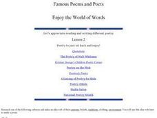 Famous Poems and Poets: Enjoy the World of Words Lesson Plan