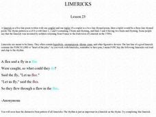 Limericks Activity Worksheet
