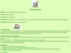 Cross-Stitching a Frog Bookmark Lesson Plan