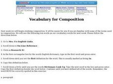 Vocabulary for Composition Lesson Plan