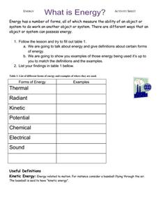 What is Energy? Lesson Plan