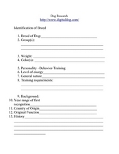 Dog Research Worksheet